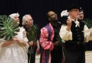 """Rebekah White, Jim Pearsall, Justin D. Harris and Colin Palmer torment Tom LaMothe (Malvolio) in a scene from William Shakespeare's """"Twelfth Night."""""""