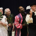 "Rebekah White, Jim Pearsall, Justin D. Harris and Colin Palmer torment Tom LaMothe (Malvolio) in a scene from William Shakespeare's ""Twelfth Night."""