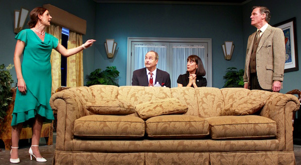 "Rebecca Edana, Andrew Botsford, Rosemary Cline and Matthew Conlon in HTC's new production of ""Private Lives."" 