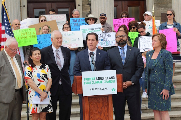 New York State Senator Todd Kaminsky at a rally in support of the climate bill earlier this spring.