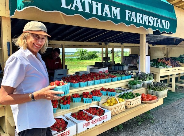 Mary CF Morgan of Drawdown East End is taking the #Dare2Drawdown challenge, buying her food this summer at local farmstands like Latham's in Orient.