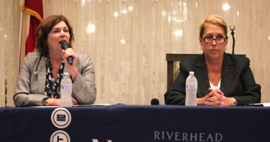 Democratic Riverhead Town Supervisor Laura Jens-Smith and her Republican opponent, Yvette Aguiar at Wednesday's debate.