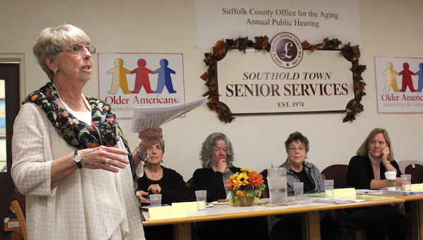 Retired Senior Volunteer Program Executive Director Peg Orsino discussed both Medicare and her program at the Southold Senior Center in Mattituck Oct. 25.