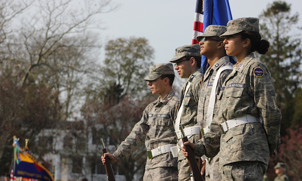 Cadets from the Civil Air Patrol New York Academy at Southampton Village's Veterans Day celebration.