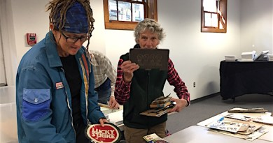 Artists Megan Barron and Arden Scott prepared their show at the Floyd Memorial Library
