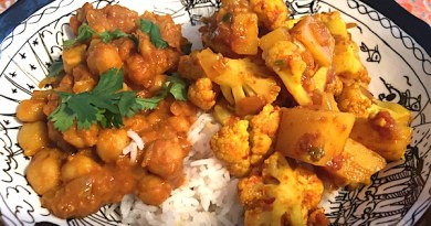 Aloo Gobi, Chickpeas Braised with Coconut Milk and Cilantro