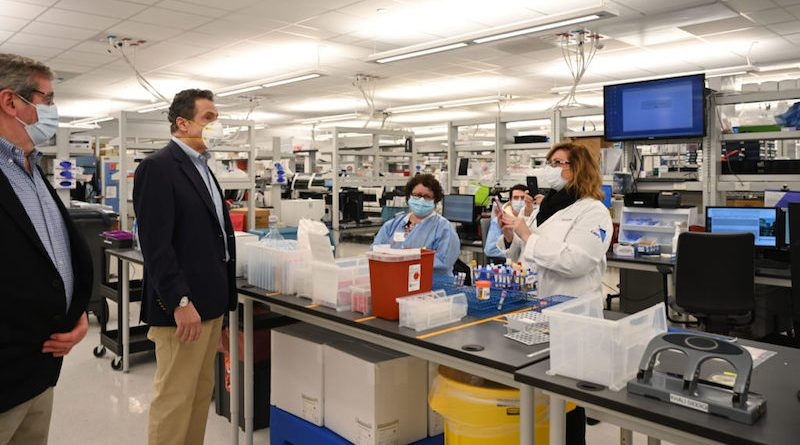 Northwell Health CEO Michael Dowling and New York Governor Andrew Cuomo toured Norhwell's Lake Success laboratory in late April. | Kevin Coughlin photo for NYS Governor's Office