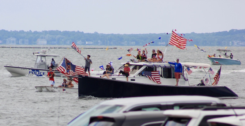 No Parade? The Peconic Bay Yacht Squadron instead held a flotilla Saturday in New Suffolk