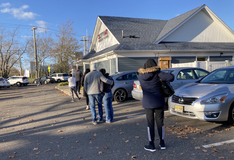 The line Sunday outside CityMD in Riverhead