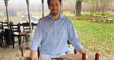 Chef Jason Casey from First And South at a cooking demonstration at McCall Wines in Cutchogue.
