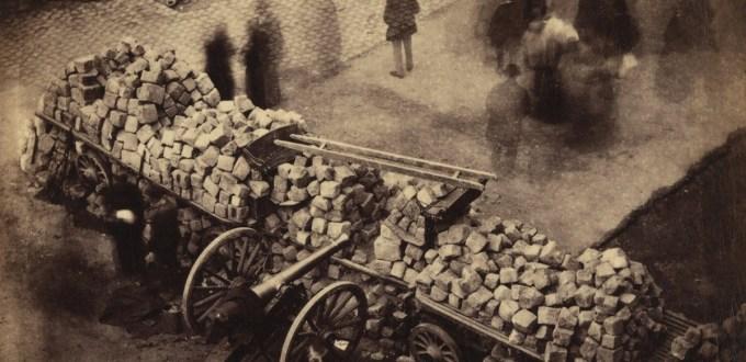 Photograph of street barricades, Paris, 1871