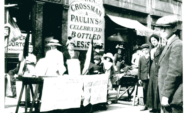 Suffragettes stall on Roman Road. Photograph: Norah Smyth