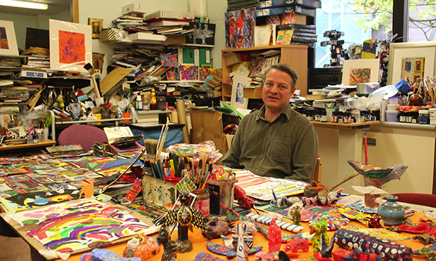 Art curator Sean Caton in the Homerton Hospital art room