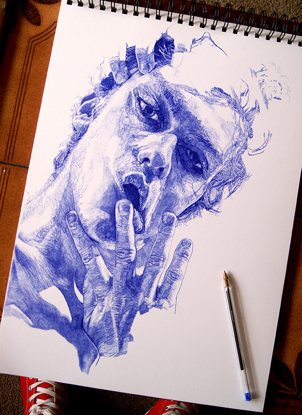 Biro drawing with pen