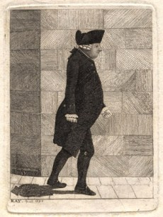 Contemporary caricature of Alexander Munro Secundus by Edinburgh Artist John Kay. © National Portrait Gallery, London