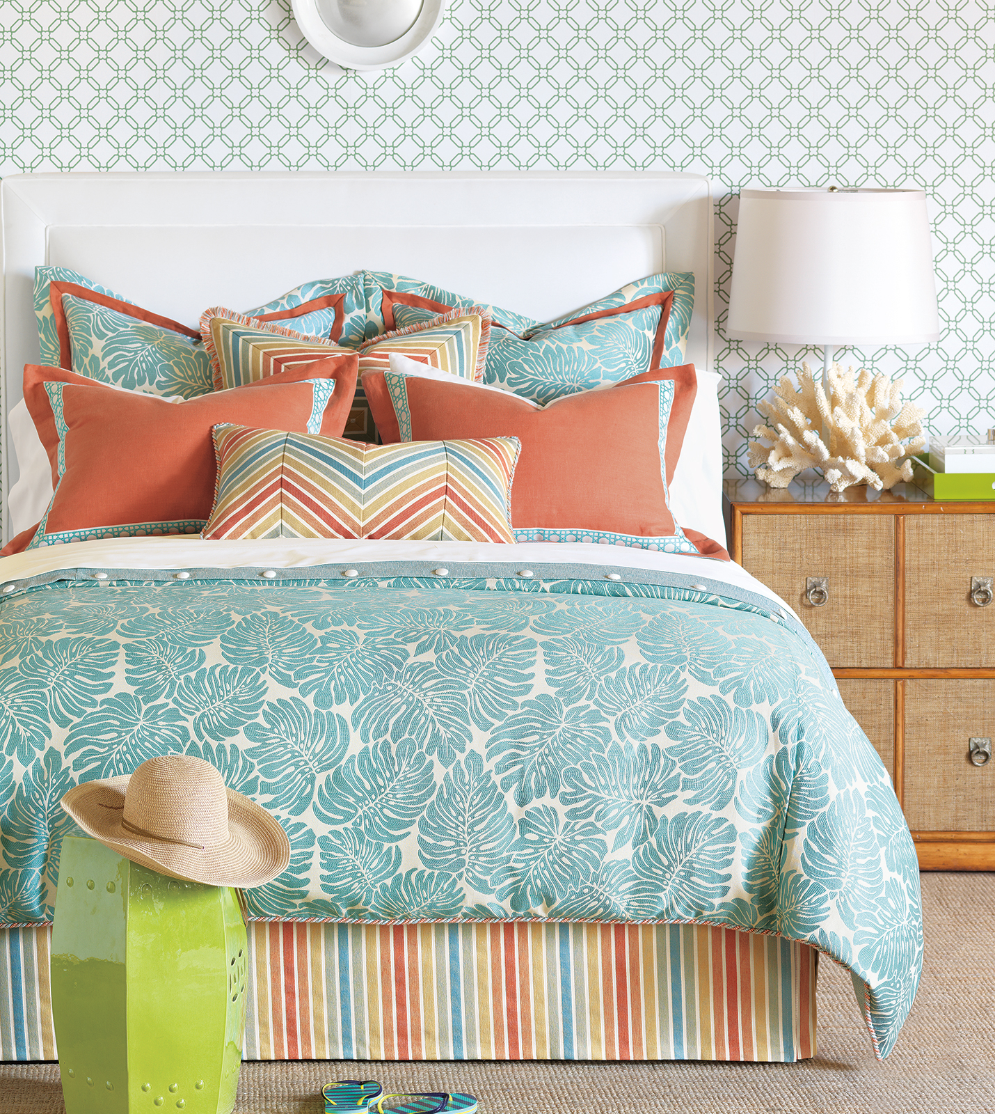 Coral Turquoise Bedding And