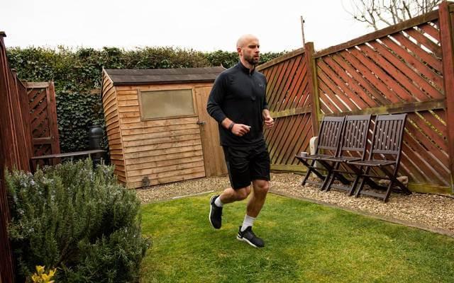 British javelin thrower runs marathon in his garden