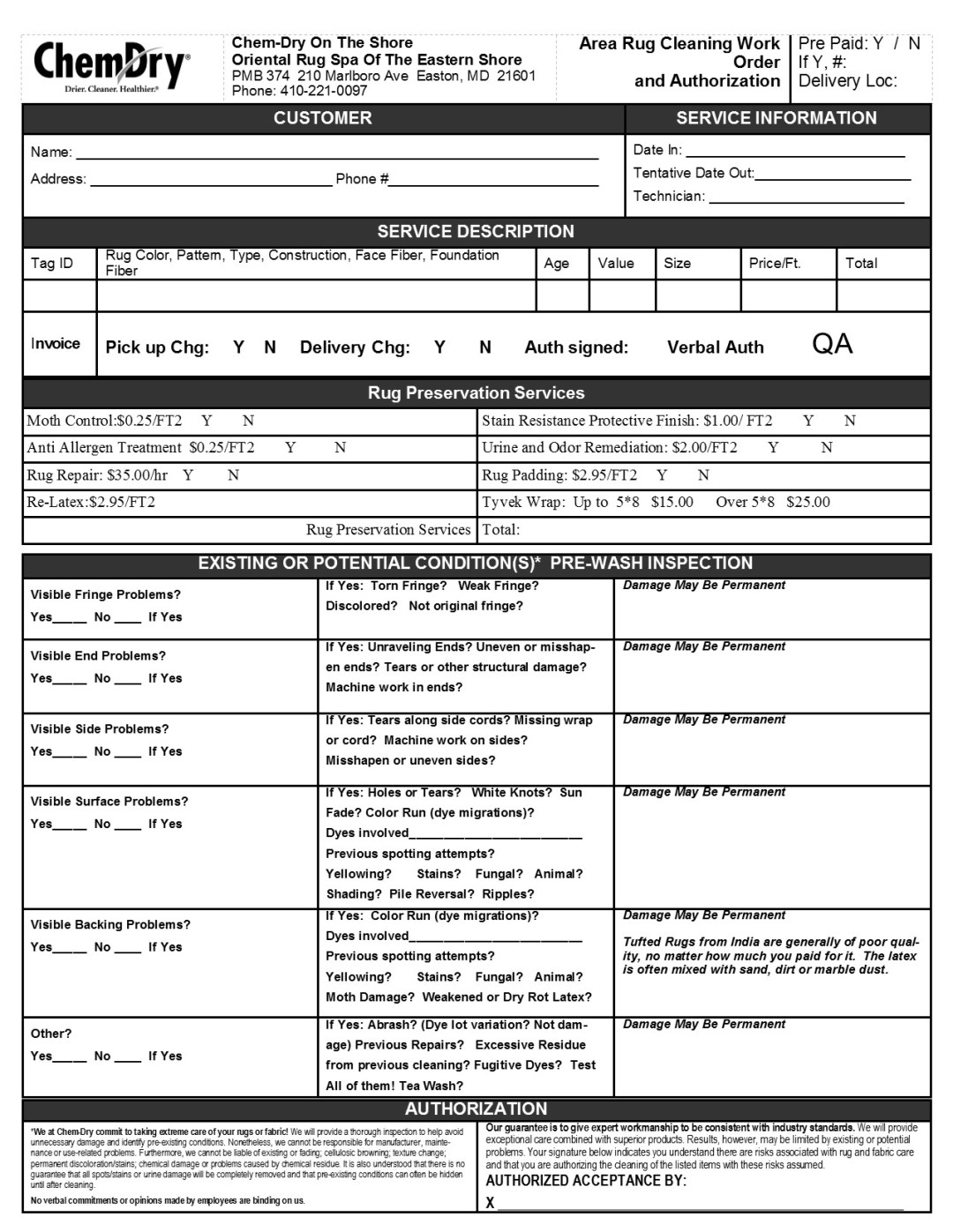 Rug Cleaning Inspection Form