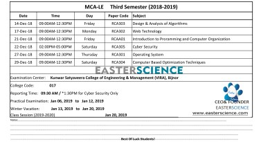 AKTU MCA-LE Examination Schedule 2018