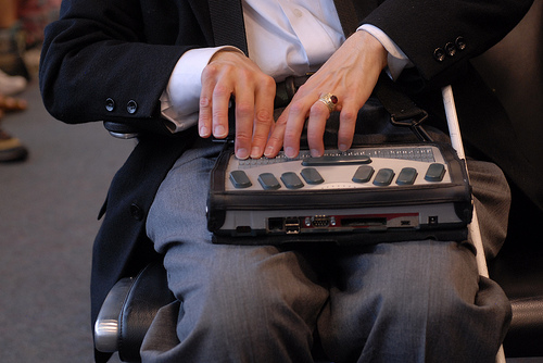 Person using Braille display, photo credited to holisticmonkey on flickr
