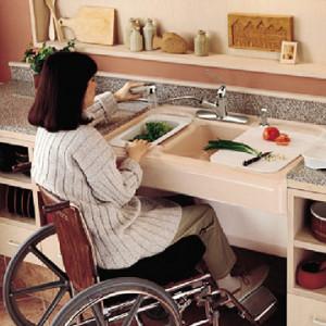 lowered kitchen sink