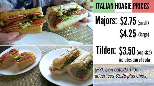 EastFallsLocal COLLAGE TIlden v Majors italian hoagie prices text