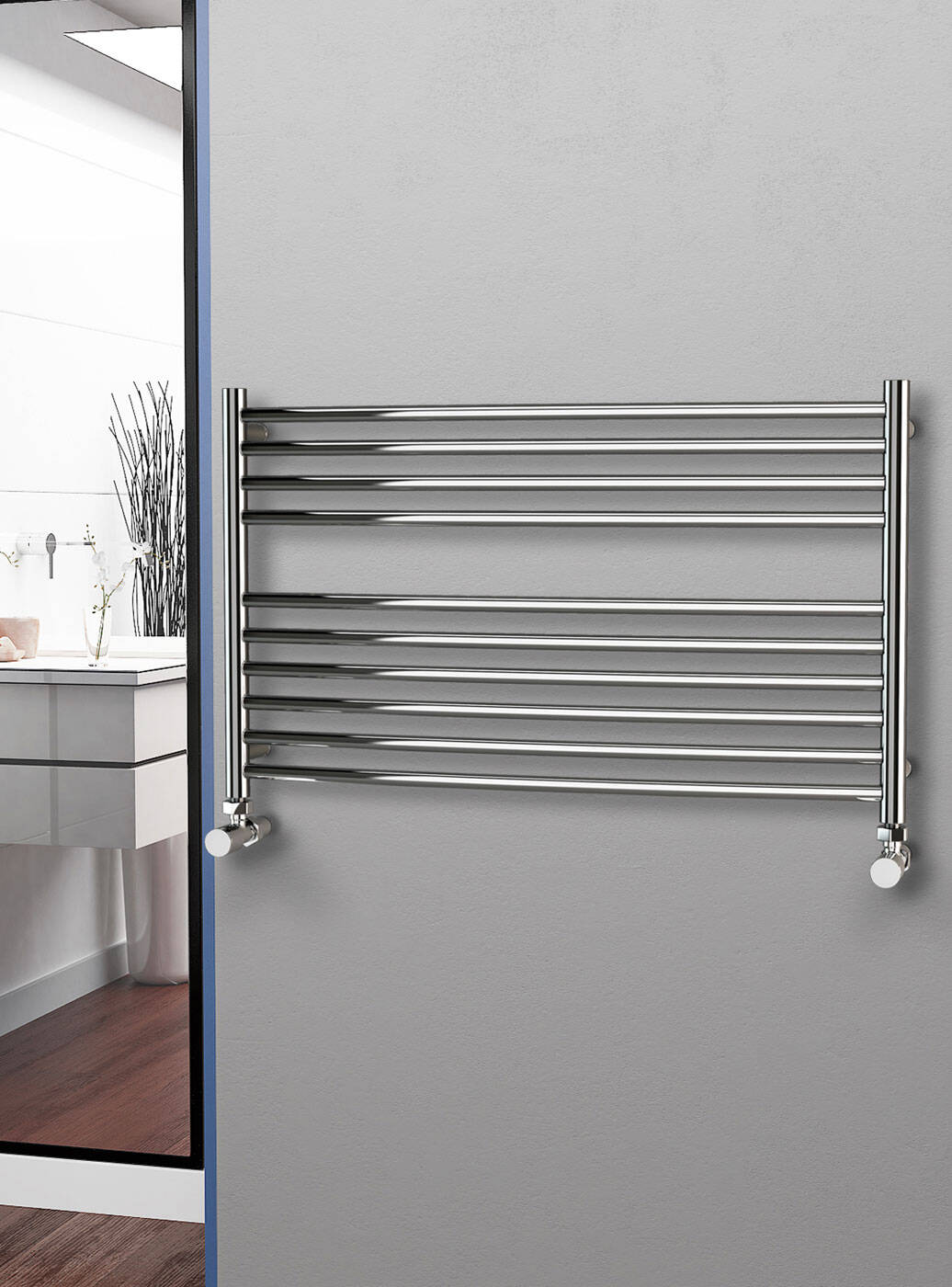 eastgate curved polished 304 stainless steel heated towel rail 600mm high x 1000mm wide electric only