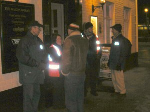Pastors talking to Door Staff outside the Wagon Works