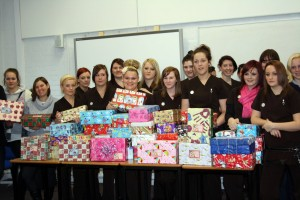 Eastleigh College students with shoeboxes2