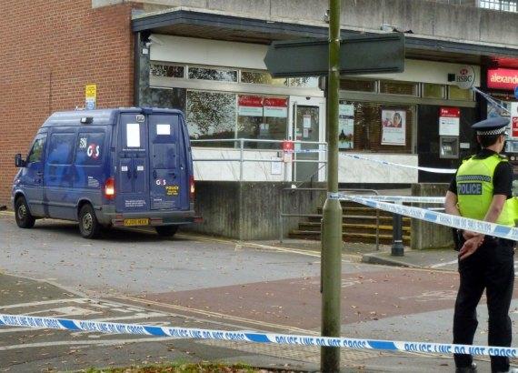 G4S Security van parked next to bank