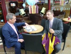 Nigel Farage at Costa Coffee Eastleigh