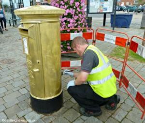 Hamble's gold post box