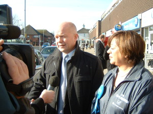 Foreign Secretary WIlliam Hague and Maria Hutchings campaigning in Hedge End