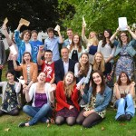 Barton Peveril principal Jonathan Prest with students on results day 2013