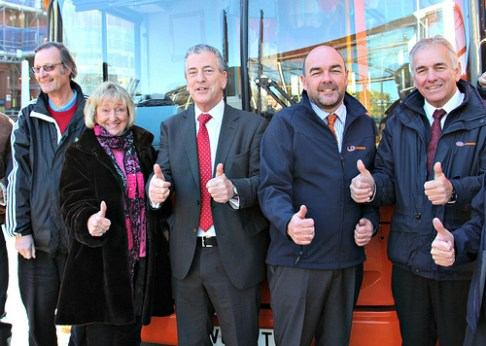 It's thumbs up from: L-R Cllrs Airey,Norris,MP Mike Thorton and Derreck Wheeler with Barry Parker