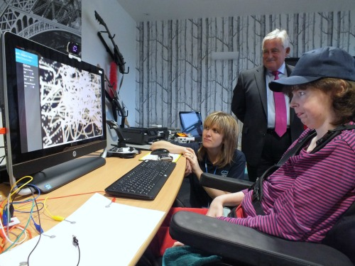 Emma tries out new tech with co-ordinator Sam West