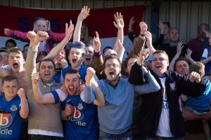 Eastleigh fans celebrate at the final whistle (photo by Paul Paxford)