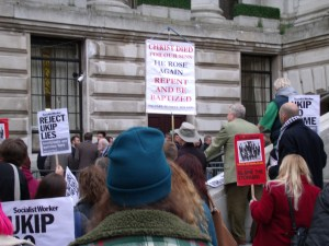 Protest on steps of Portsmouth Guildhall