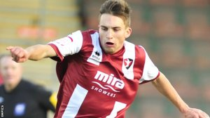 Goalscorer and trialist Lawdon D'Ath playing for Cheltenham last season