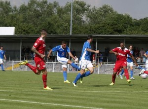 Ben Wright gets one back for Eastleigh (photo by Tony Smith)
