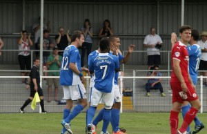 Jai Reason celebrates an equaliser with his team mates
