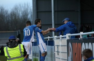 Jack Midson celebrates his brace with team mate Jai Reason (photo by Tony Smith)