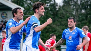 Ben Strevens equalises for Eastleigh on Saturday (photo by Paul Paxford)