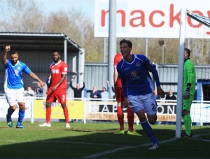 On loan from Bournemouth - Joe Partington opens the scoring for Eastleigh (photo by Tony Smith).