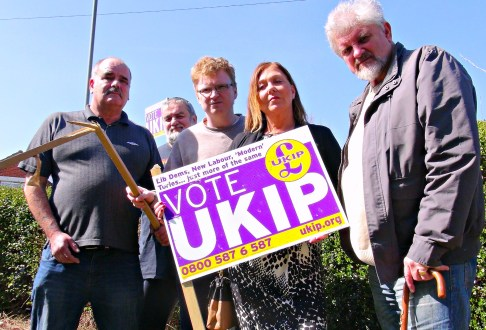 Ukip PPC Patricia Culligan holds up vandalised sign