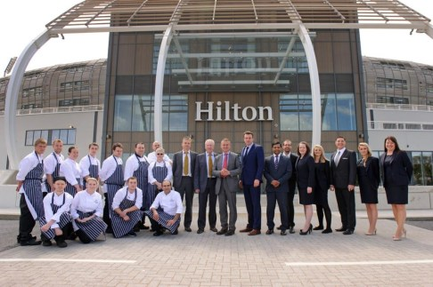 HCC Chairman Rid Bransgove lines up with Keith House and Hotel staff