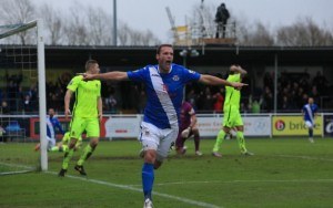 Andy Drury scores the winning goal on his Birthday (photo by Tony Smith)