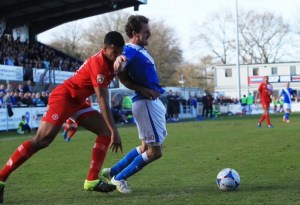 Jack Midson hit the cross bar for Eastleigh