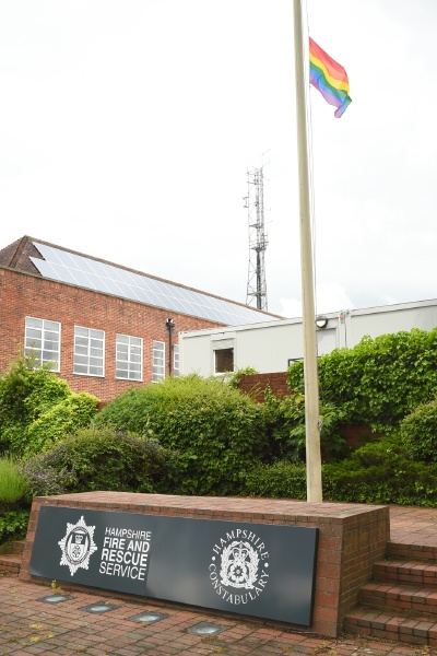 Rainbow LGBT flag flies at Police and Fire HQ