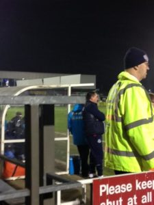 Eastleigh's manager Martin Allen looks on with disappointment